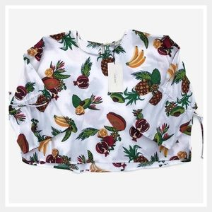 Zara Tropical Fruit Print Crop Blouse Shirt Small